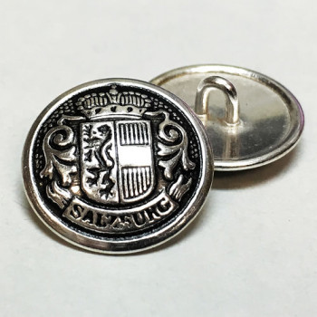 "JHB-98160-Antique Silver Crest Button, 11/16"" Size Only"