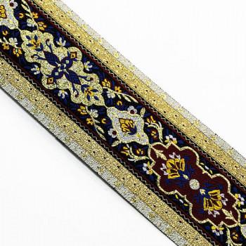 """JM3-02 Gold, Blue, White, and Mustard Jacquard Ribbon - 2-5/8"""""""