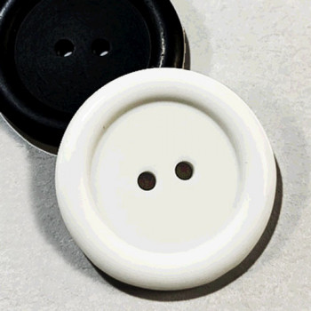 "KB-816 Large, 1"" Black or White Polished 2-Hole Button, Priced by the Dozen (SAVE WHEN BUYING 12 DOZEN OR MORE)"