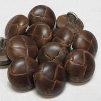 "L-1399 Brown Braided Leather Button, 5/8""  Priced per Dozen"