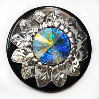 LF-9417  Metal Sunflower Button with AB Crystal Rivoli Rhinestone
