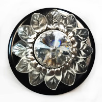 LF-9418  Metal Sunflower Design with Crystal Rhinestone Button