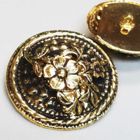 M-036-Vintage Antique Gold Metal Fashion Button, 2 Sizes