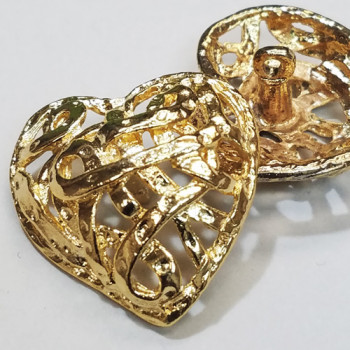 M-037 Gold Metal Heart Button 3 Sizes