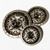 M-076-Etched Metal Button, 3 Sizes