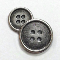 M-1210 Antique Silver Metal Button, 2 Sizes