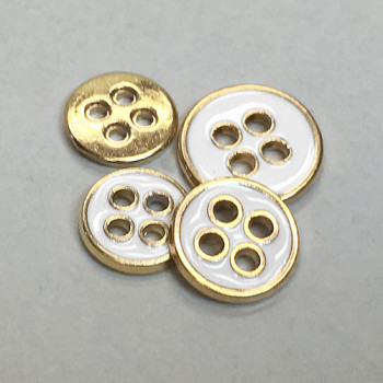 M-1262 Gold with White Epoxy Shirt Button - in 3 Sizes