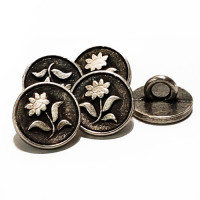 "M-1276-D Metal Flower Button, 7/16"" -  Priced by the Dozen."