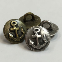 M-1277 Antique Silver or Antique Gold Anchor Shirt Button