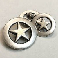 M-147 - Antique Silver Metal Star Button, 2 Sizes