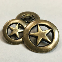 M-148 - Antique Brass Metal Star Button, 2 Sizes
