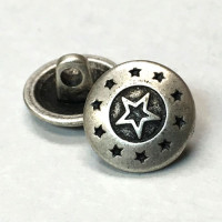 M-153-D Star Design Metal Shirt Button, Priced per Dozen