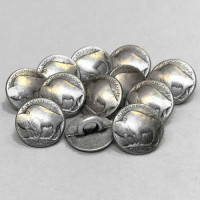M-1866-D Buffalo Nickel Metal Shirt Button, Priced Per Dozen