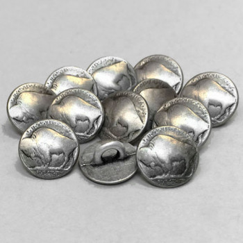 M-1866-D Buffalo Nickel Metal Shirt Button, Priced Per Dozen