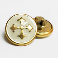 "M-2811  Metal Cross Button in Gold with Ivory Epoxy - 5/8"", Sold by the Dozen"
