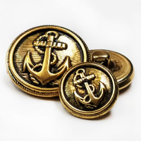 M-3307 Antique Gold Anchor Button, 4 sizes