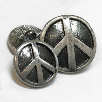 M-3480 Metal Peace Sign Button, 2 Sizes