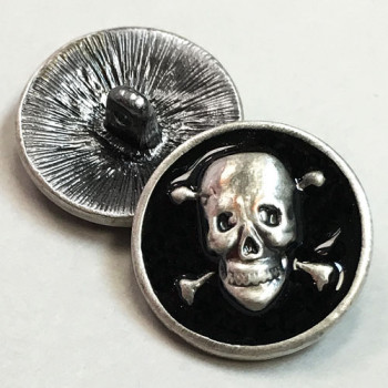 M-6215-Antique Silver Skull and Crossbones Button with Black Epoxy