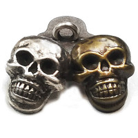 M-6218-Metal Skull Button, in Antique Silver or Antique Brass - 2 Sizes