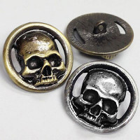 M-6219-Large Metal Skull Button, 2 Colors