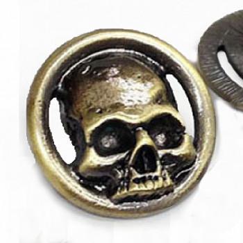 "M-6219-Large Metal Skull Button, 1-1/8"" - Antique Gold"