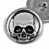 "M-6219A - Large Metal Skull Button, 1-1/8"" - Bright Antique Silver"