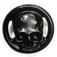 M-6220-Large Matte Black Metal Skull Button