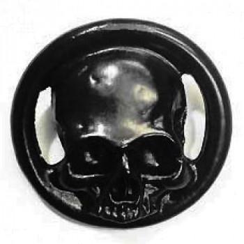 M-6220-Large Matte Black Metal Skull Button