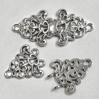M-6055  Two-Piece, Silver Metal Hook and Eye Frog Closure