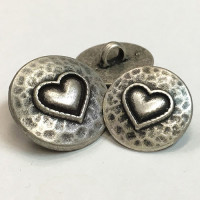 M-7823-Metal Heart Button, 2 Sizes