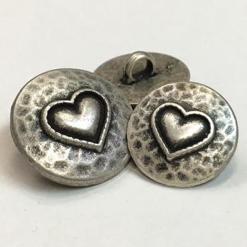 M-7823-Metal Heart Button, 2 Sizes