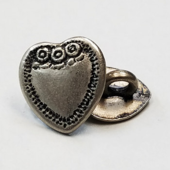 M-7835-D Metal Heart Button, Priced By The Dozen 2 Sizes