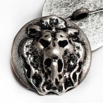 M-7905 Antique Silver Lion's Head Metal Button