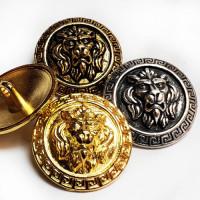 M-7914 Lion's Head Metal Button, 2 Sizes - 3 Colors