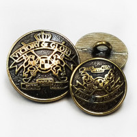 M-831-Antique Brass Blazer Button, 2 Sizes