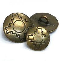 M-844 Southwestern Style Metal Shank Button, 2 Sizes
