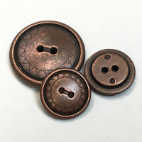 M-900 Antique Copper 2-Hole Metal Button, in 2 Sizes