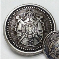M-9180 Antique Silver Coat Button with Crest, One Size Only