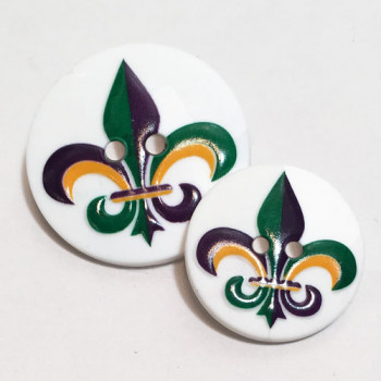 2019 Mardi Gras Fleur-Di-Lis Button - 2 Sizes
