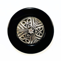 "MLP-1715  Antique Silver and Black Designer Button, 1-1/4"""
