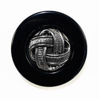 "MLP-1716  Black and Antique Silver Designer Button, 1-1/4"""