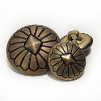 MTL-022  Antique Brass Southwestern Look Metal Button, 2 Sizes
