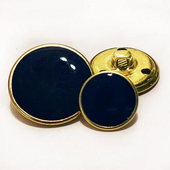 MTL-30  Gold with Dark Navy Epoxy Metal Button, 3 Sizes