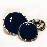 MTL-32  Silver with Dark Navy Epoxy Metal Button, 2 Sizes