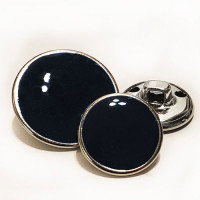 MTL-33  Silver with Black Epoxy Metal Button, 2 Sizes