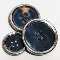 P-12137  Iridescent Blue + Silver Button, in 3 Sizes