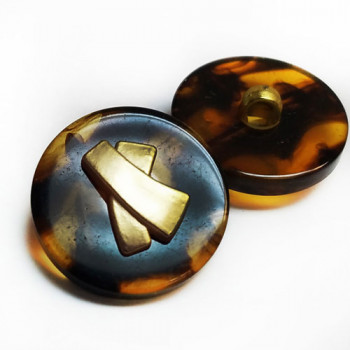 "PT-167-D Tortoise Button with Matte Gold Center - 13/16"", Priced By The Dozen"