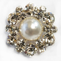 RHP-126-Pearl and Rhinestone Button