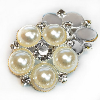 RHP-37 Pearl and Rhinestone Button, 3 Sizes
