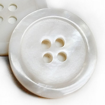 RSW-117D - 7/8 inch, White Rivershell Button, Sold by the Dozen